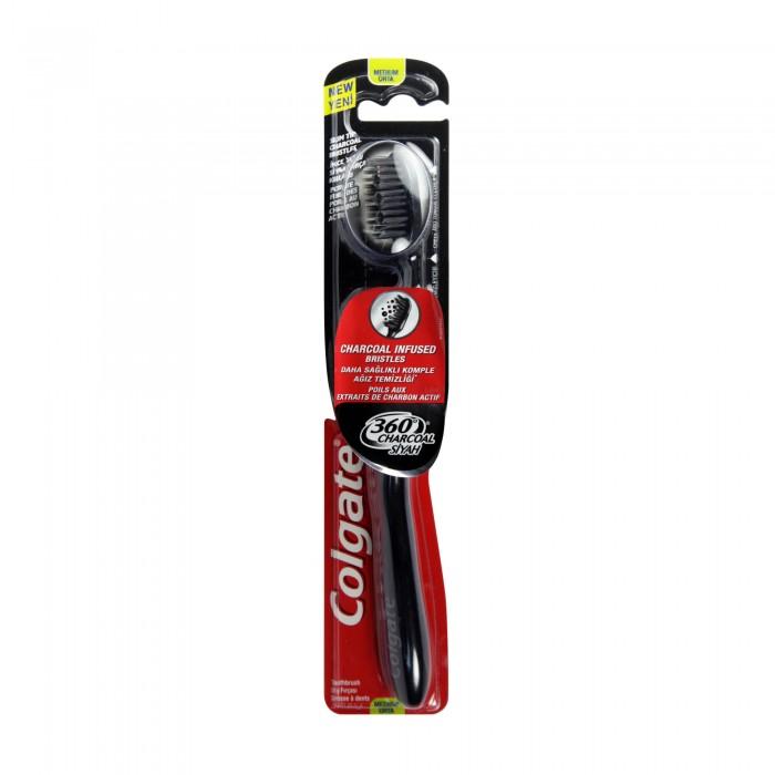 فرشاة اسنان كولجيت 360 بالفحم النشط نعومة متوسط