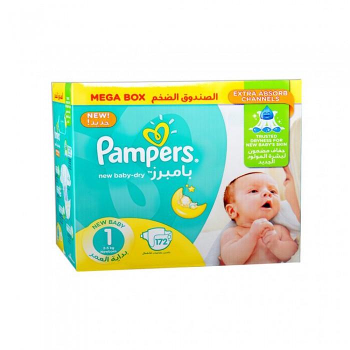 بامبرز حفاظات للأطفال مقاس - 1 ميجا بوكس 172 حبة
