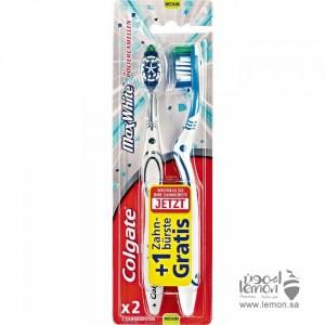 فرشاة الاسنان كولجيت ماكس وايت وسط الخاصة في تبييض الاسنان 2فرشاة