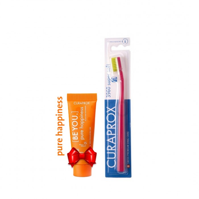 كيورابروكس 3960 فرشاة اسنان + كيورابروكس بيور هابينس معجون تبييض الأسنان 10 مل