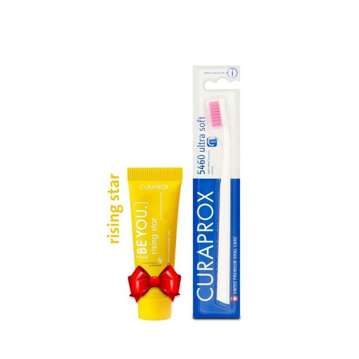 كيورابروكس 5460 فرشاة اسنان + كيورابروكس رايزينج ستار معجون تبييض الأسنان 10 مل